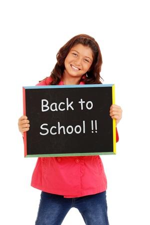 native american girl: Happy school girl with chalk board Stock Photo
