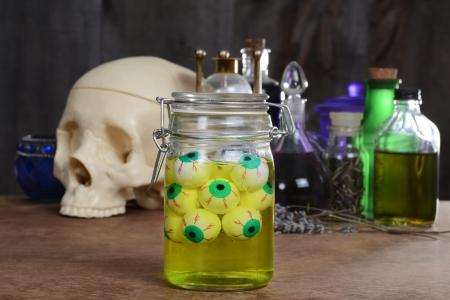 Jar of eyeballs skull and potions photo