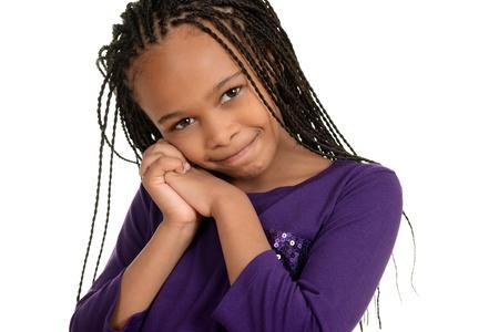 longo: crian�a africano bonito com top roxo Banco de Imagens
