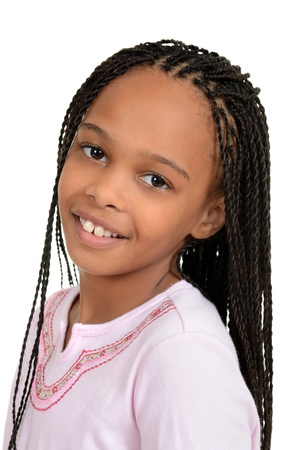plait: Closeup young african female child Stock Photo
