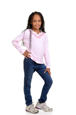 cornrows: Young african child with pink shirt