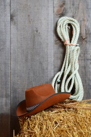 western cowboy: Cowboy hat on straw with ropes