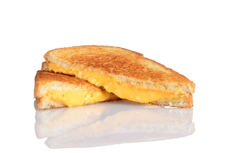 melted cheese: Grilled cheese sandwich with reflection Stock Photo