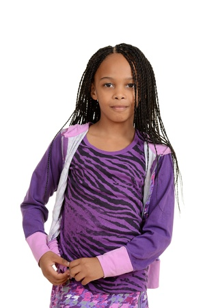 Young black child wearing purple outfit photo