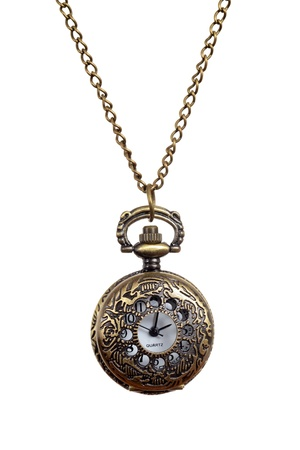 luxury watch: Isolated Vintage style woman pocket watch necklace Stock Photo
