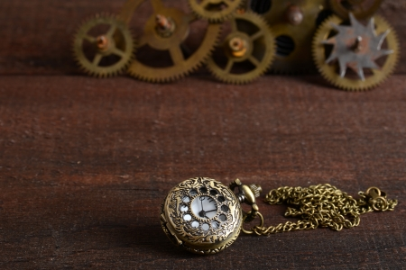 Steampunk style watch with gears photo
