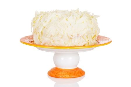 ice cream stand: White chocolate cake with shaved chocolate Stock Photo