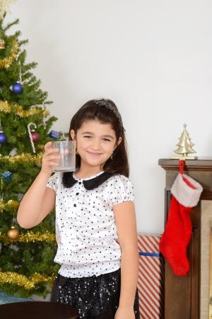 drank: Little girl drank santa milk