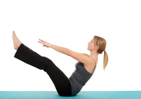 Vrouw doet Pilates teaser vormen