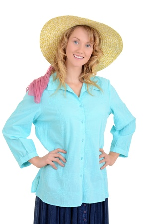 top hate: Country woman with straw hat