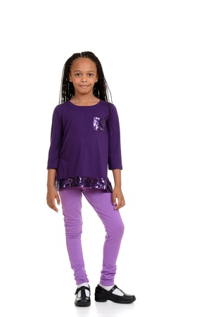young african child wearing purple outfit photo