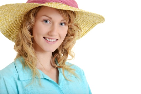 top hate: Young woman wearing straw hat
