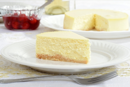 Slice of new york style cheesecake photo