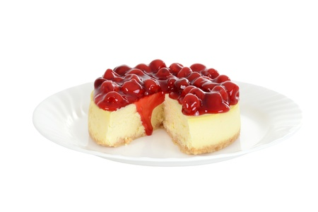 Isolated plate of cherry cheesecake