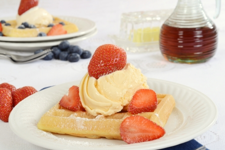 closeup vanillia ice cream strawberry waffle photo