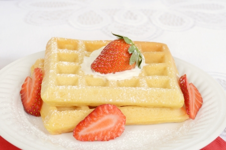 Macro strawberry and cream waffles photo