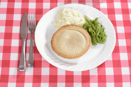 top view meat pie with vegetables Stock Photo
