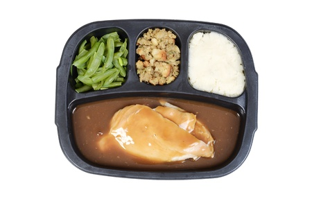 top view turkey tv dinner