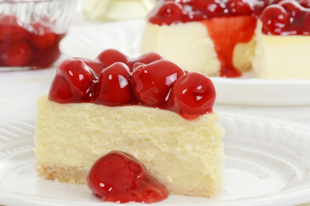 Macro cherry cheesecake photo