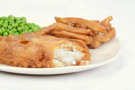 battered: macro fish and chip dinner