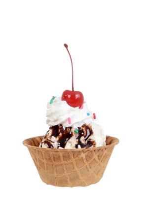 whipped cream: Isolated chocolate sundae with cherry