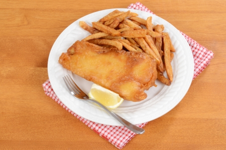 top view fish and chips photo