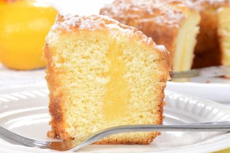 cafe y pastel: Macro de lim�n pastel de caf�