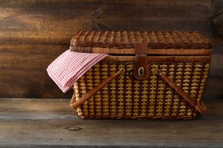 picnic basket on wood