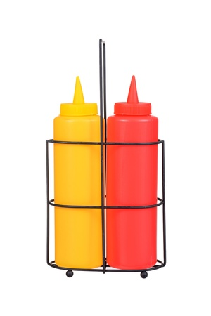 tomato catsup: ketchup and mustard bottles