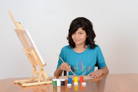 young female art painter photo