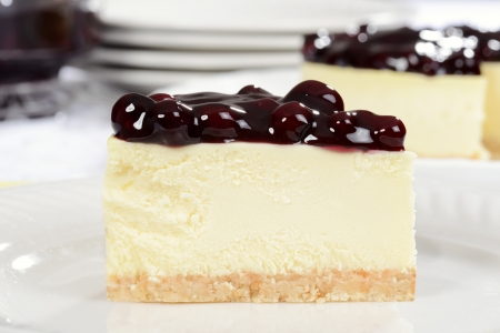 bakery products: Macro slice of blueberry cheesecake