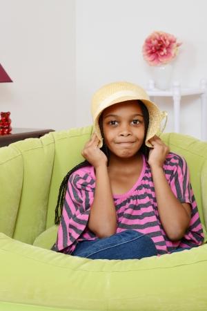 cornrows: Black child playing