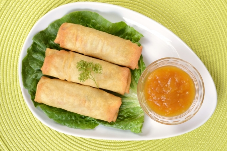 Top view of spring rolls photo
