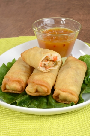 egg roll: Vegetable spring rolls with plum sauce Stock Photo