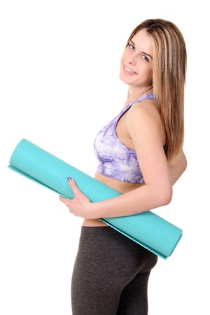 Woman holding Foam Exercise Mat photo