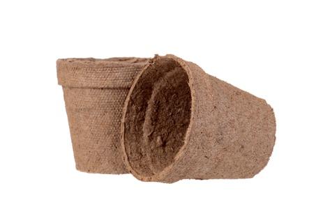 turba: dos macetas de turba poco profunda DOF
