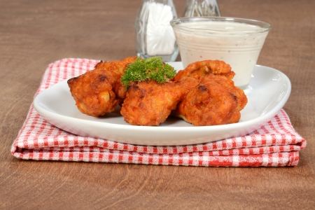 Chicken wings with dipping sauce photo