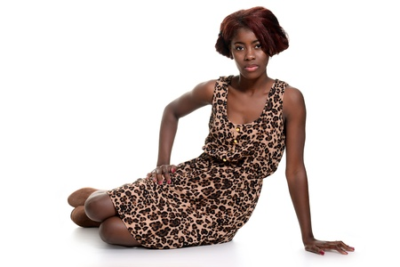 black woman wearing animal print dress photo