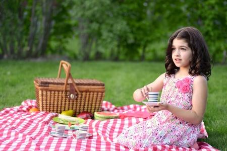 picnic blanket: peque�a fiesta del t� ni�a Foto de archivo