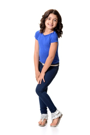 blue jeans kids: litte girl being cute Stock Photo
