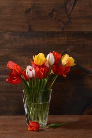 tulips in vase: still life of tulips