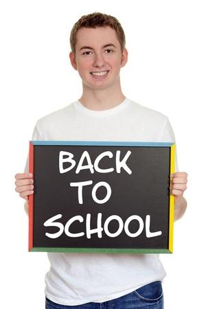 blank slate: teen boy back to school sign