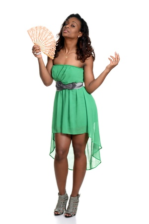 african fashion: black woman with a fan Stock Photo