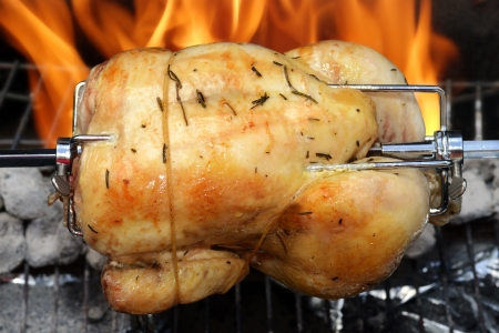 roast chicken: rotisserie chicken on the grill