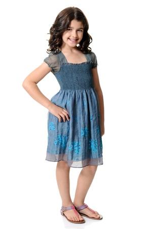 sandalias: linda niña con vestido azul