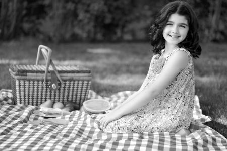 black and white little girl vintage picnic photo