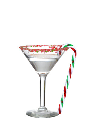 clear candy cane martini Archivio Fotografico