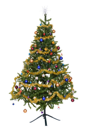 Isolated decorated christmas tree photo