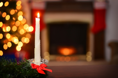 bees wax christmas candle focus on candle photo