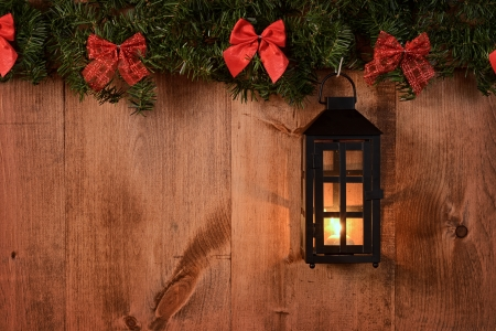 boughs: christmas lantern with pine boughs and bows Stock Photo